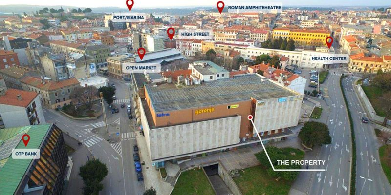 Pula The investment opportunity is located in the centre of Pula. The facility is multifunctional and is unique due to its location